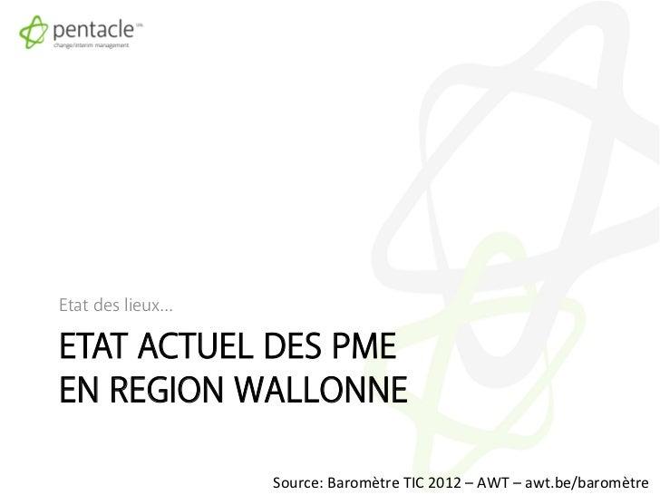 Etat des lieux…ETAT ACTUEL DES PMEEN REGION WALLONNE                  Source: Baromètre TIC 2012 – AWT – awt...