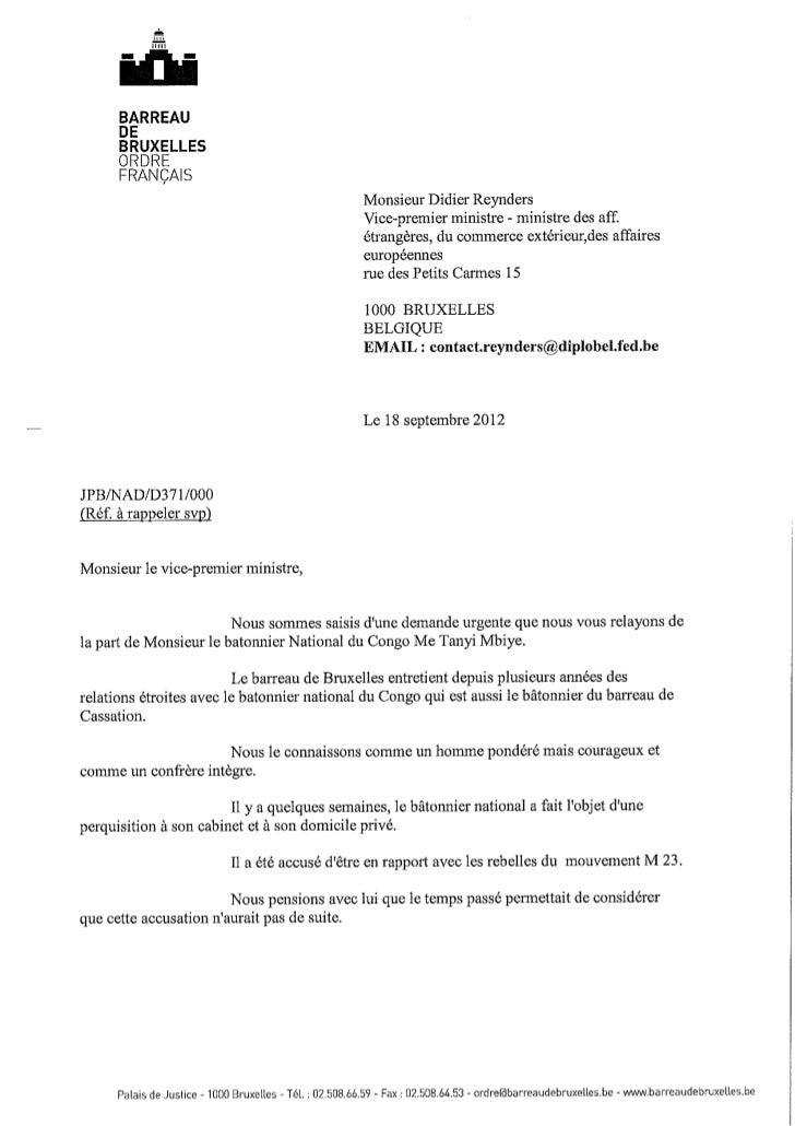 Le ttre du bâtonnier de Bruxelles français au Minsitre des affaire étrangères