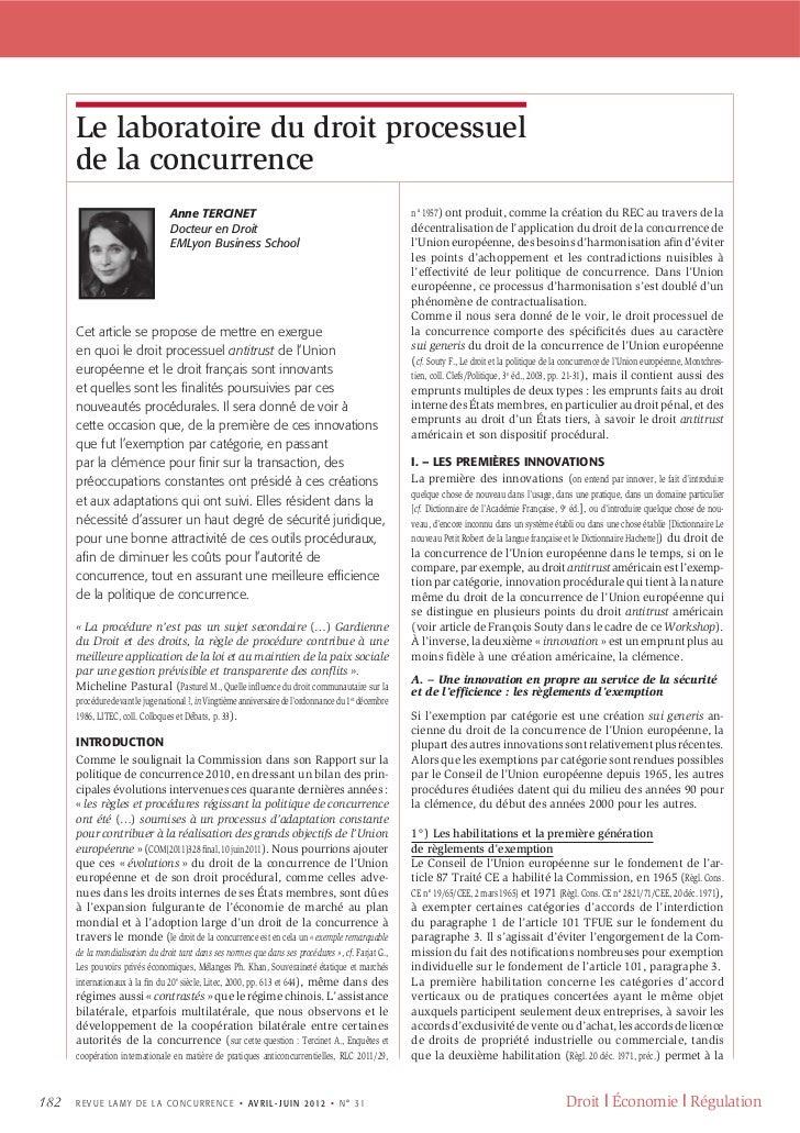 Le laboratoire du droit processuel de la concurrence - Revue Lamy de la Concurrence N°31 2012, pp.182-199.