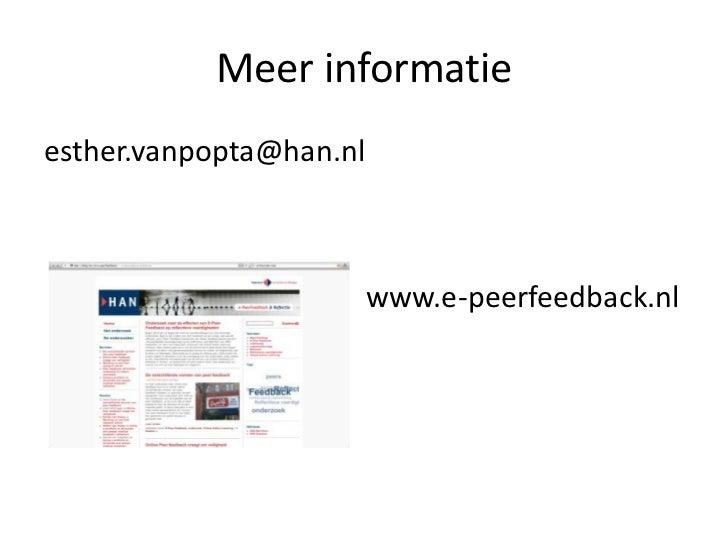 Meer informatieesther.vanpopta@han.nl                     www.e-peerfeedback.nl