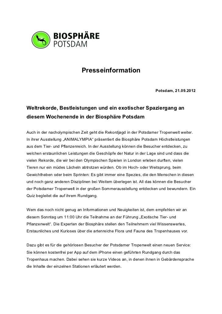 Presseinformation                                                                      Potsdam, 21.09.2012Weltrekorde, Bes...