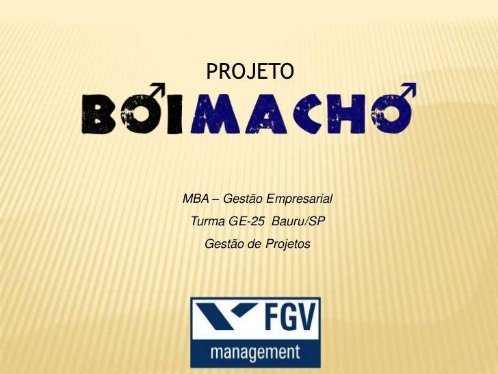PROJETOMBA – Gestão Empresarial Turma GE-25 Bauru/SP   Gestão de Projetos