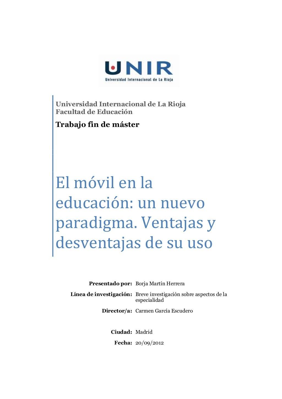 El móvil en la educación: un nuevo paradigma. Ventajas y desventajas de su uso.