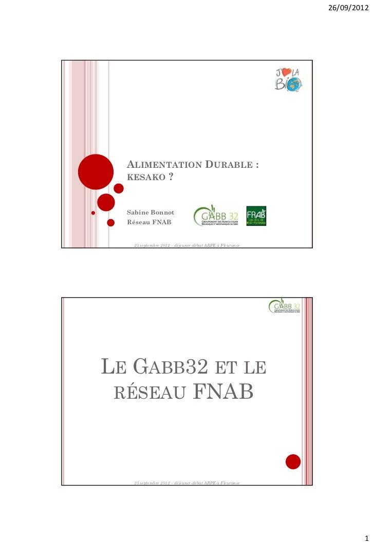 26/09/2012  ALIMENTATION DURABLE :  KESAKO ?  Sabine Bonnot  Réseau FNAB    25 septembre 2012 – déjeuner-débat ARPE à Fleu...