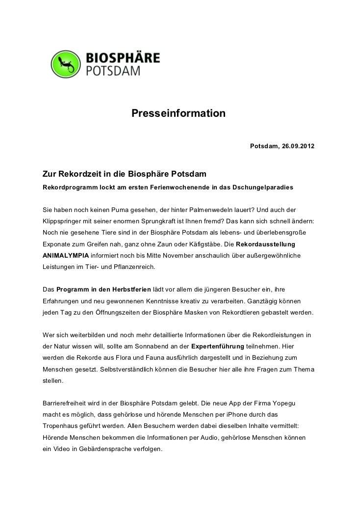 Presseinformation                                                                      Potsdam, 26.09.2012Zur Rekordzeit i...