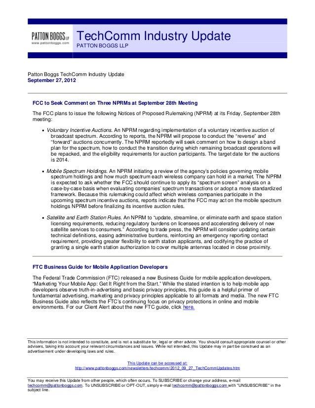 TechComm Industry Update                           PATTON BOGGS LLPPatton Boggs TechComm Industry UpdateSeptember 27, 2012...