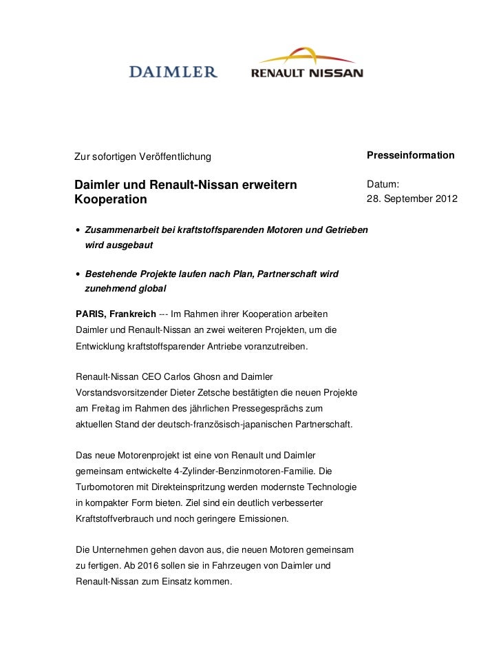 Zur sofortigen Veröffentlichung                                       PresseinformationDaimler und Renault-Nissan erweiter...