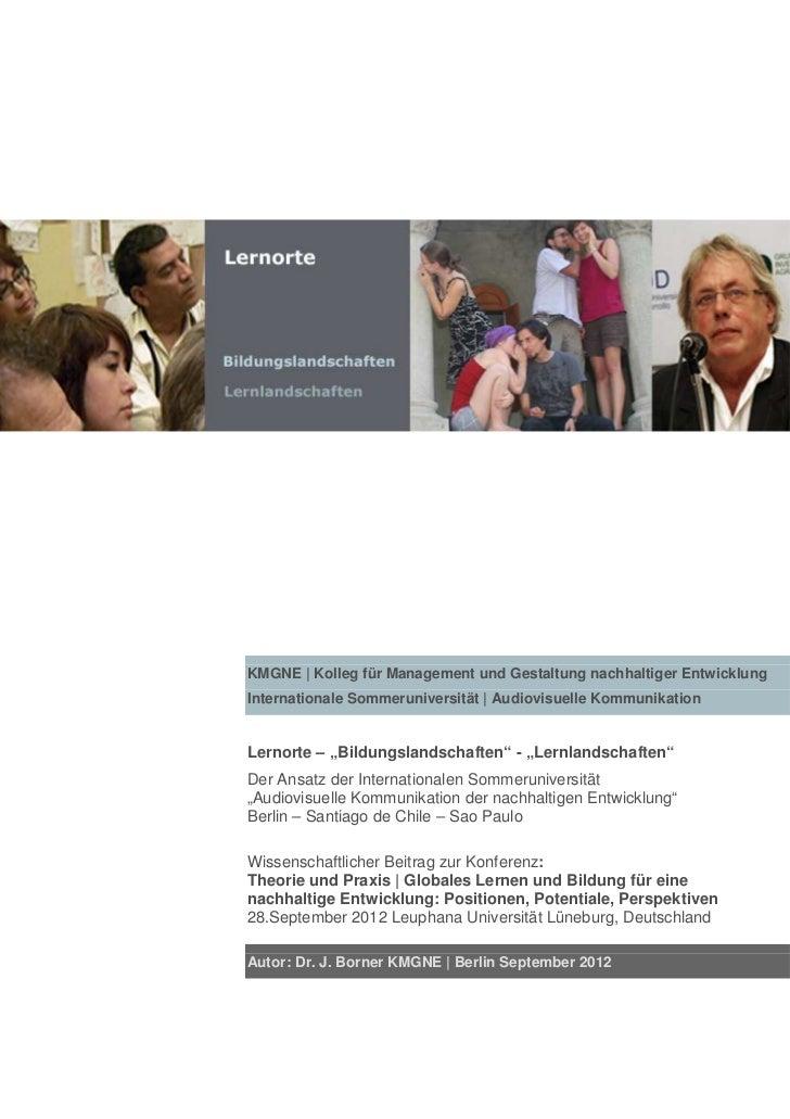 KMGNE | Kolleg für Management und Gestaltung nachhaltiger EntwicklungInternationale Sommeruniversität | Audiovisuelle Komm...