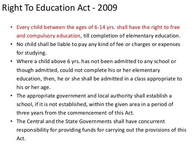 right to education act 2009 Education act, 2009 no 35 of 2009 [26th august, 2009]  education right of transfer to other school duty of appropriate government and local authority to.