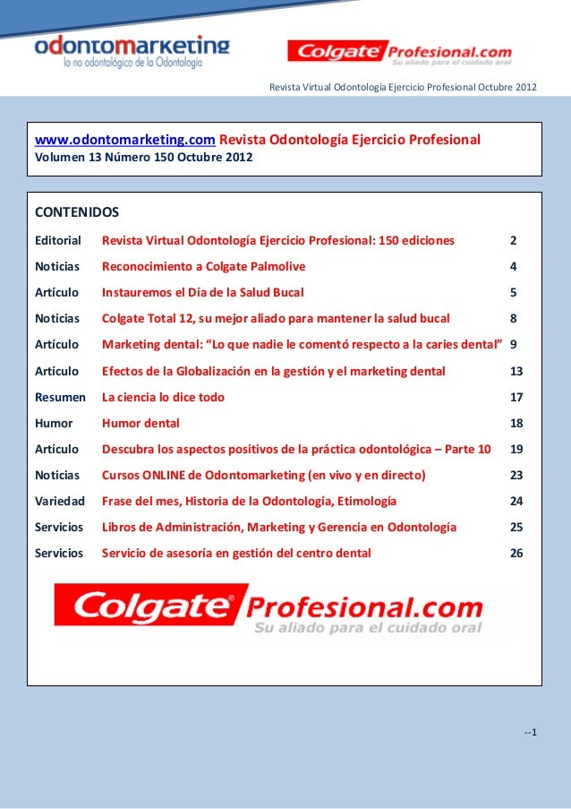 Revista Virtual Odontología Ejercicio Profesional Octubre 2012www.odontomarketing.com Revista Odontología Ejercicio Profes...