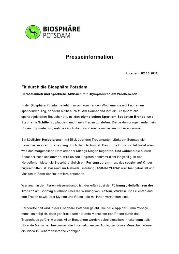 Presseinformation                                                                     Potsdam, 02.10.2012Fit durch die Bio...