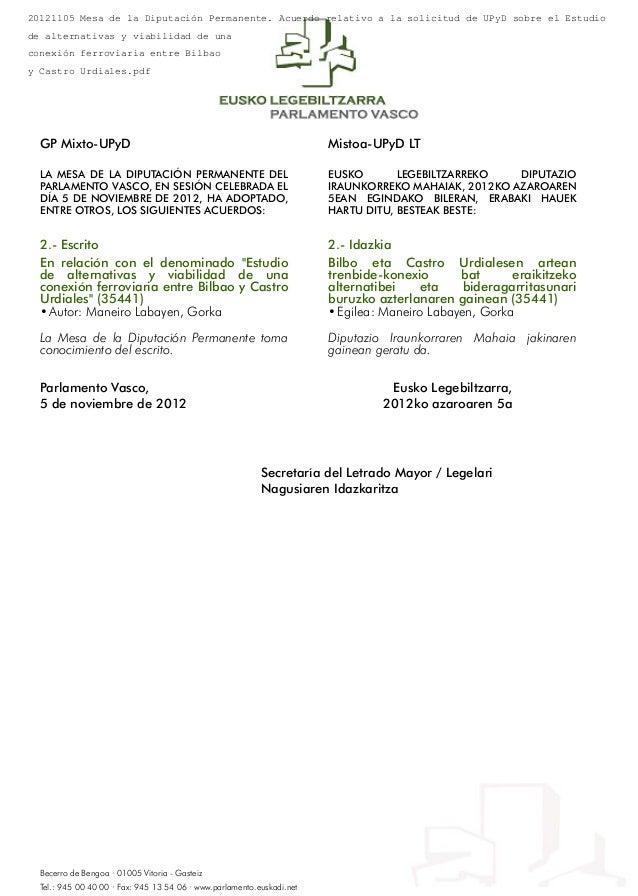 20121105 Mesa de la Diputación Permanente. Acuerdo relativo a la solicitud de UPyD sobre el Estudiode alternativas y viabi...