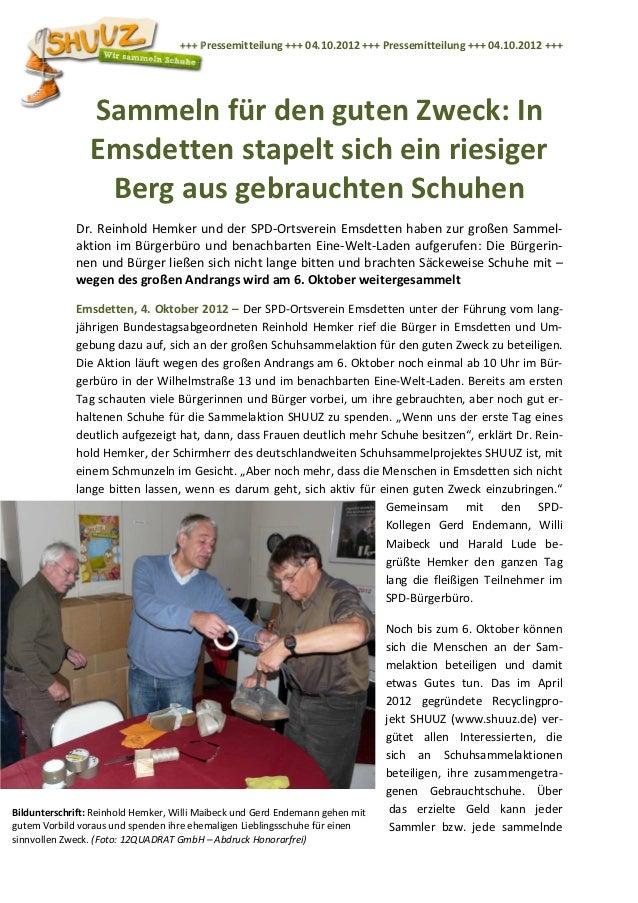 +++ Pressemitteilung +++ 04.10.2012 +++ Pressemitteilung +++ 04.10.2012 +++                Sammeln für den guten Zweck: In...