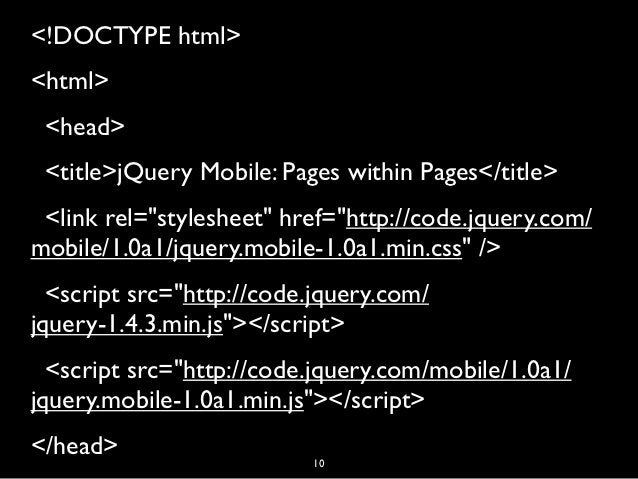 """<!DOCTYPE html><html><head><title>jQuery Mobile: Pages within Pages</title><link rel=""""stylesheet"""" href=""""http://code...."""