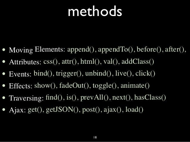 methods•   Moving Elements: append(), appendTo(), before(), after(),•   Attributes: css(), attr(), html(), val(), addClass...