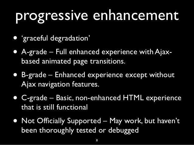 progressive enhancement• 'graceful degradation'• A-grade – Full enhanced experience with Ajax-  based animated page transi...