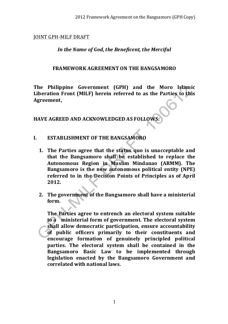 2012	  Framework	  Agreement	  on	  the	  Bangsamoro	  (GPH	  Copy)	  JOINT	  GPH-­‐MILF	  DRAFT	                         ...