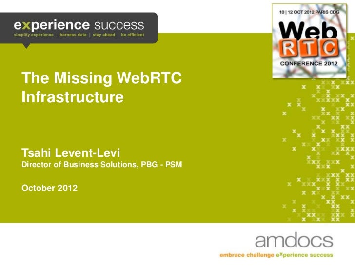 The Missing WebRTC    Infrastructure    Tsahi Levent-Levi    Director of Business Solutions, PBG - PSM    October 20121