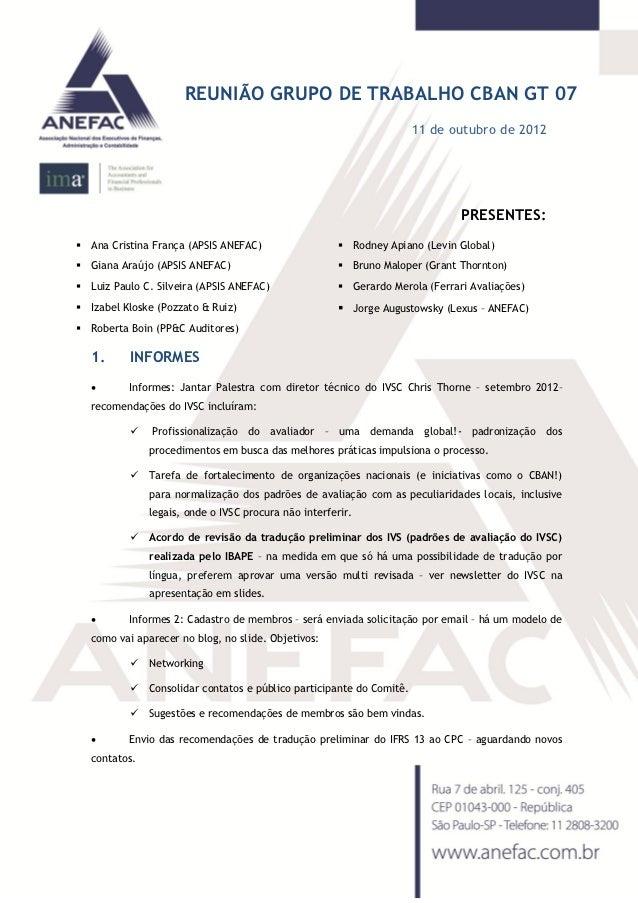 REUNIÃO GRUPO DE TRABALHO CBAN GT 07                                                                       11 de outubro d...