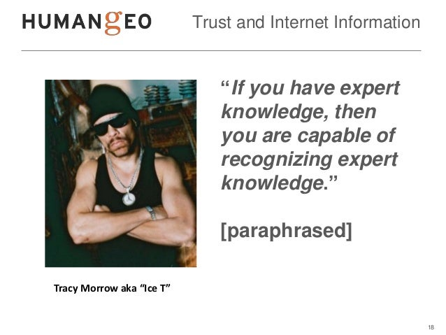 """Trust and Internet Information                              """"If you have expert                              knowledge, th..."""