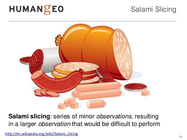 Salami Slicing  Salami slicing: series of minor observations, resulting  in a larger observation that would be difficult t...