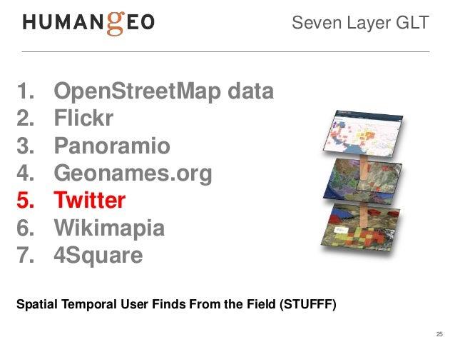 Seven Layer GLT1.   OpenStreetMap data2.   Flickr3.   Panoramio4.   Geonames.org5.   Twitter6.   Wikimapia7.   4SquareSpat...