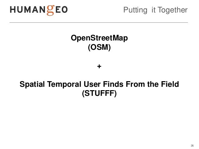 Putting it Together             OpenStreetMap                (OSM)                    +Spatial Temporal User Finds From th...