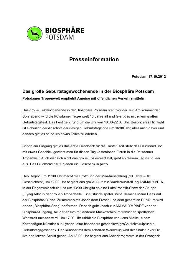 Presseinformation                                                                       Potsdam, 17.10.2012Das große Gebur...
