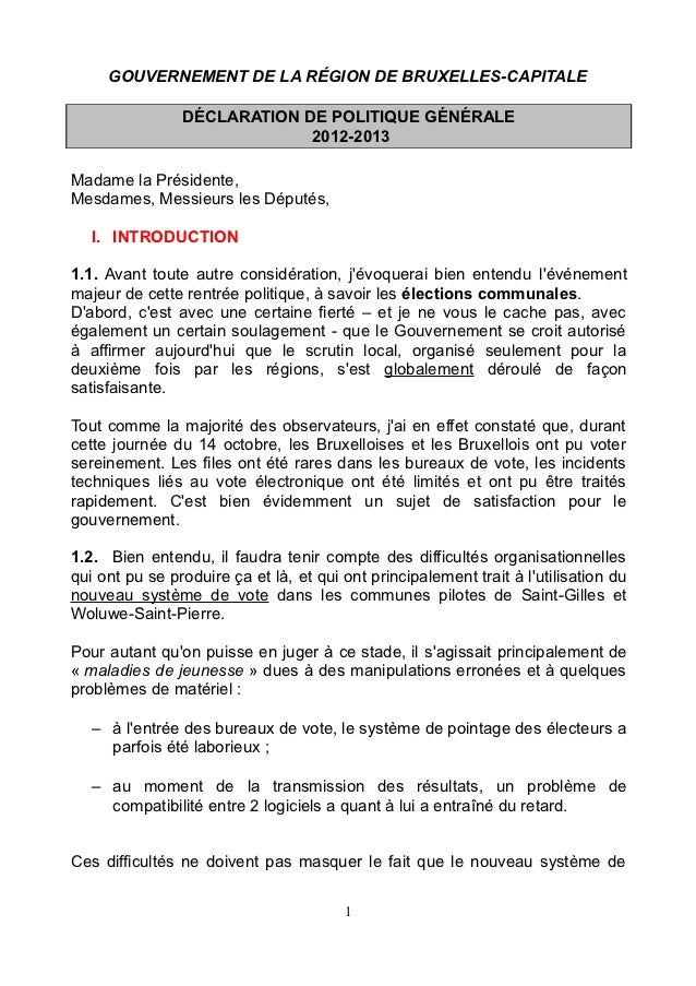 GOUVERNEMENT DE LA RÉGION DE BRUXELLES-CAPITALE                DÉCLARATION DE POLITIQUE GÉNÉRALE                          ...