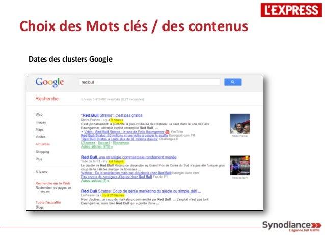 Choix des Mots clés / des contenus Dates des clusters Google