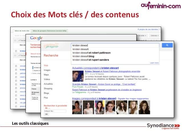 Choix des Mots clés / des contenusLes outils classiques