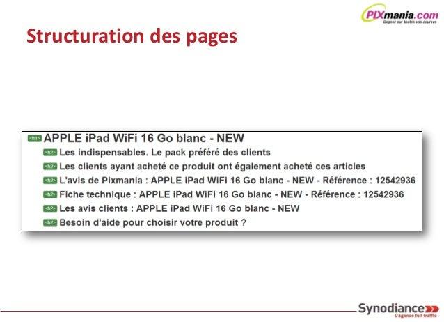 Le contenu > Pages structurées                                                                Chasse au Duplicate Content ...
