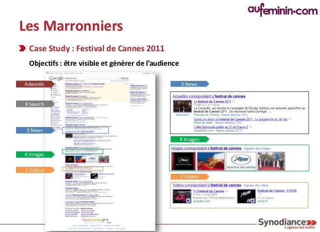 Les Marronniers Case Study : Festival de Cannes 2011 Identifier les mots clés génériques + long tail :     …cannes,   cann...