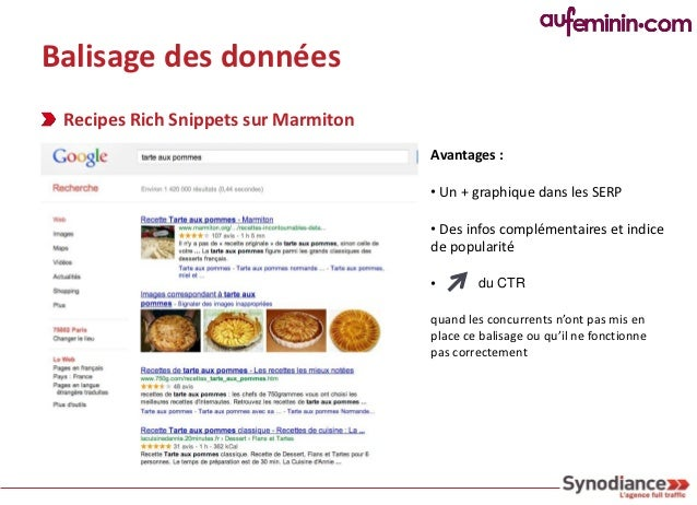 Balisage des données Recipes Rich Snippets sur Marmiton                                        Profiter des               ...