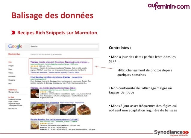 Balisage des données Recipes Rich Snippets sur Marmiton                                      Conseil                      ...