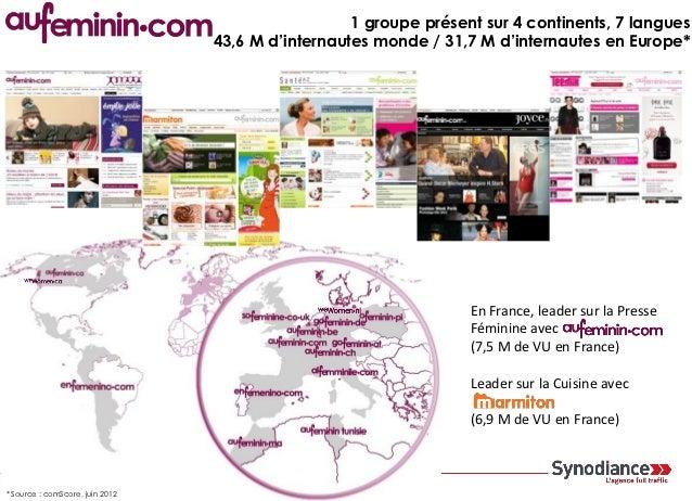 1 groupe présent sur 4 continents, 7 langues                                 43,6 M d'internautes monde / 31,7 M d'interna...