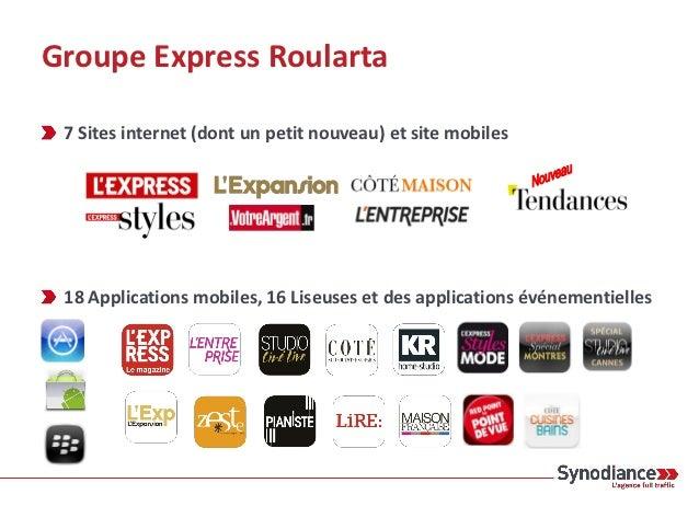 Groupe Express Roularta 7 Sites internet (dont un petit nouveau) et site mobiles 18 Applications mobiles, 16 Liseuses et d...