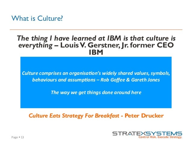 Page  §  13   What is Culture? The thing I have learned at IBM is that culture is everything – LouisV. Gerstner, Jr...