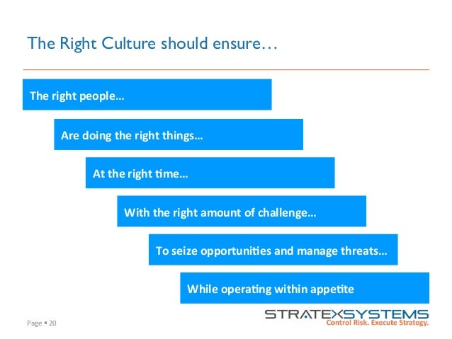 Page  §  20   The Right Culture should ensure… The  right  people…   Are  doing  the  right  things…...