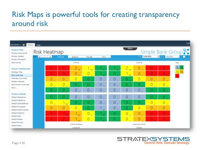 Page  §  30   Risk Maps is powerful tools for creating transparency around risk