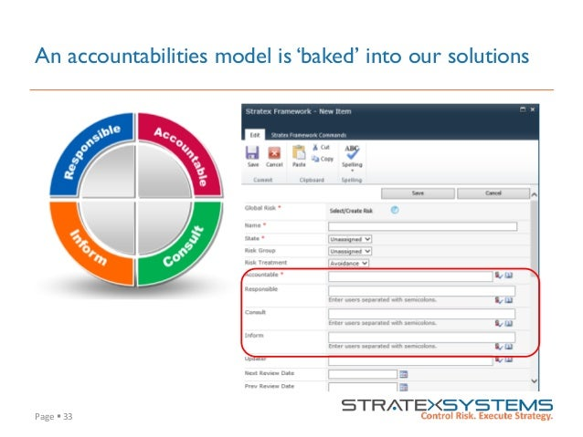 Page  §  33   An accountabilities model is 'baked' into our solutions