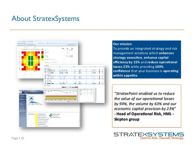 """Page  §  35   About StratexSystems """"StratexPoint  enabled  us  to  reduce   the  value  of  our  ..."""