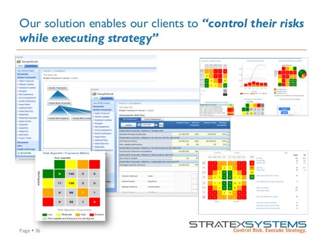 """Page  §  36   Our solution enables our clients to """"control their risks while executing strategy"""""""