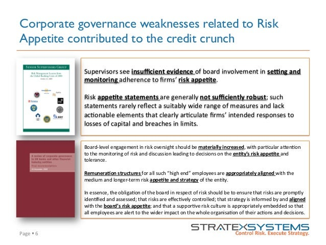 Page  §  6   Corporate governance weaknesses related to Risk Appetite contributed to the credit crunch Supervisors...