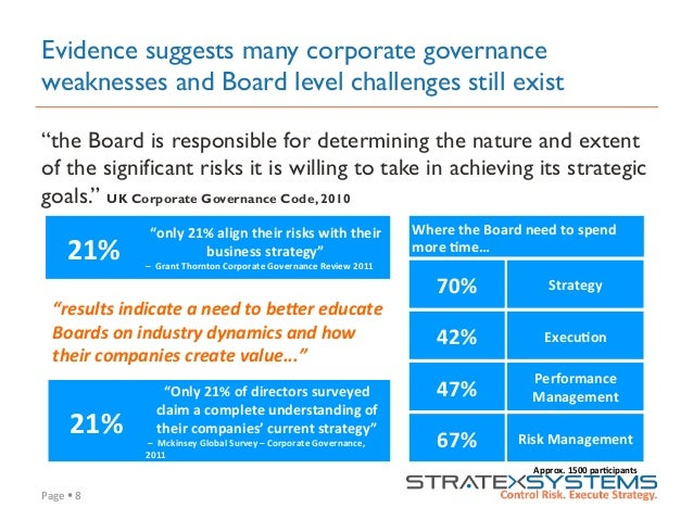 """Page  §  8   Evidence suggests many corporate governance weaknesses and Board level challenges still exist """"the Boa..."""