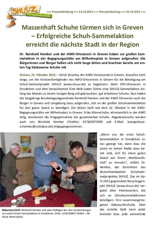 +++ Pressemitteilung +++ 22.10.2012 +++ Pressemitteilung +++ 22.10.2012 +++                Massenhaft Schuhe türmen sich i...