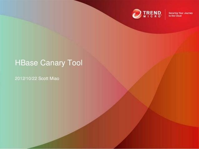 HBase Canary Tool2012/10/22 Scott Miao