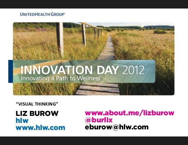 """VISUAL THINKING""  Presenter:                               Sponsor: LIZ BUROW  Liz Burow                ..."