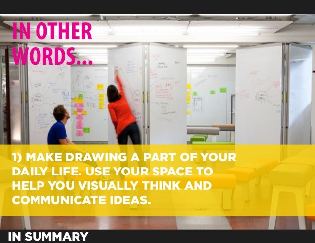 IN OTHERWORDS...1) MAKE DRAWING A PART OF YOURDAILY LIFE. USE YOUR SPACE TOHELP YOU VISUALLY THINK ANDCOMMUNICATE IDEAS.IN...