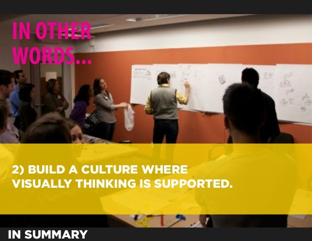 IN OTHERWORDS...2) BUILD A CULTURE WHEREVISUALLY THINKING IS SUPPORTED.IN SUMMARY